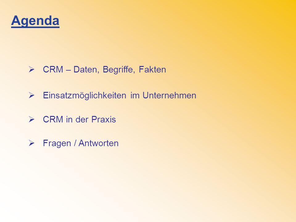 Agenda CRM – Daten, Begriffe, Fakten Einsatzmöglichkeiten im Unternehmen CRM in der Praxis Fragen / Antworten