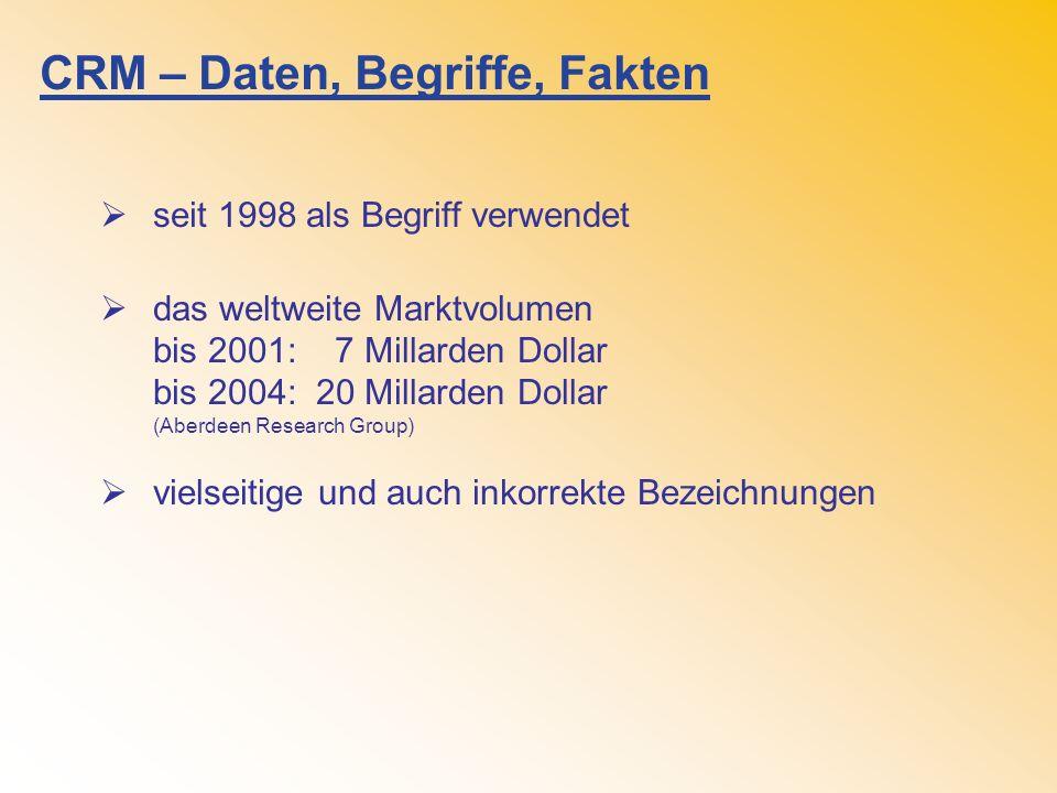 CRM – Daten, Begriffe, Fakten seit 1998 als Begriff verwendet das weltweite Marktvolumen bis 2001: 7 Millarden Dollar bis 2004: 20 Millarden Dollar (Aberdeen Research Group) vielseitige und auch inkorrekte Bezeichnungen