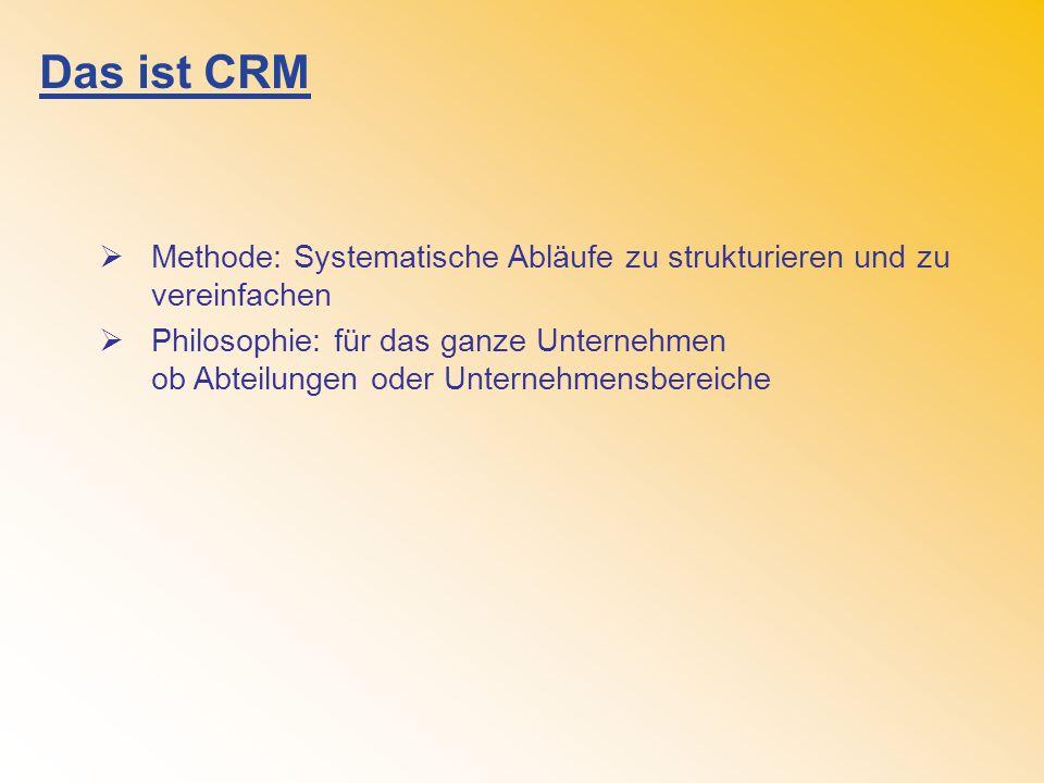 Das ist CRM Methode: Systematische Abläufe zu strukturieren und zu vereinfachen Philosophie: für das ganze Unternehmen ob Abteilungen oder Unternehmensbereiche