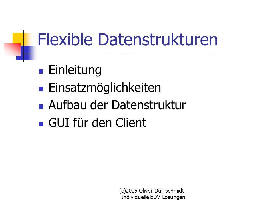 (c)2005 Oliver Dürrschmidt - Individuelle EDV-Lösungen Flexible Datenstrukturen Einleitung Häufige Probleme beim Datenbankentwurf Unbekannte Struktur bei Kunden-Datenbanken im Erstentwurf Sich im Betrieb ändernde Datenstruktur im Produktivbetrieb Zugriff auf die Datensätze in der Verzeichnis-Struktur
