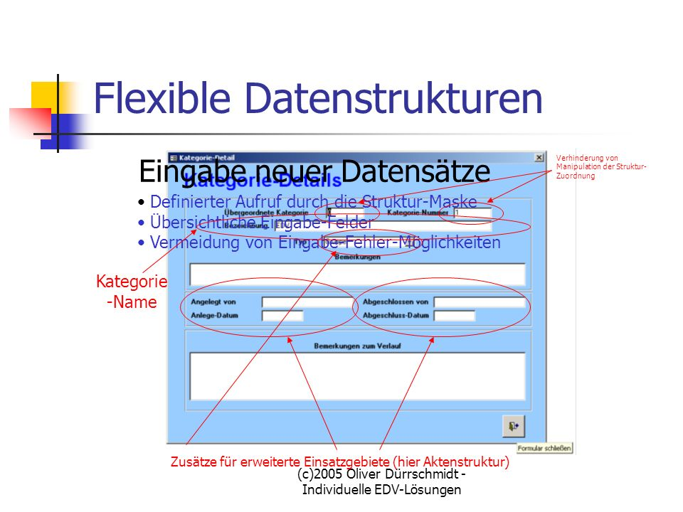 (c)2005 Oliver Dürrschmidt - Individuelle EDV-Lösungen Flexible Datenstrukturen Zusammenfassung Einmalige Generierung nach eigenen Vorstellungen Schnell modifiziert für neue Projekte Individuell auf die Entwicklerbelange konfigurierbar Danke für Eure Aufmerksamkeit