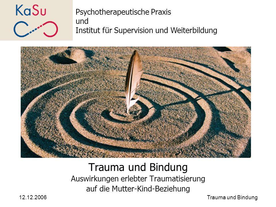 12.12.2006Trauma und Bindung Auswirkungen erlebter Traumatisierung auf die Mutter-Kind-Beziehung Psychotherapeutische Praxis und Institut für Supervis