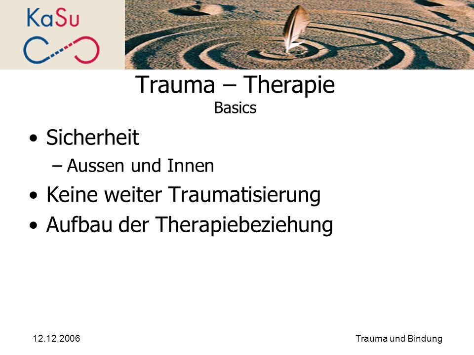 12.12.2006Trauma und Bindung Trauma – Therapie Basics Sicherheit –Aussen und Innen Keine weiter Traumatisierung Aufbau der Therapiebeziehung