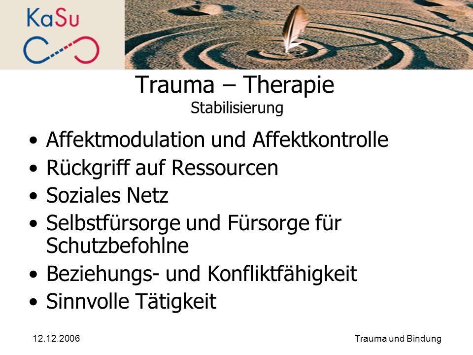 12.12.2006Trauma und Bindung Trauma – Therapie Stabilisierung Affektmodulation und Affektkontrolle Rückgriff auf Ressourcen Soziales Netz Selbstfürsor
