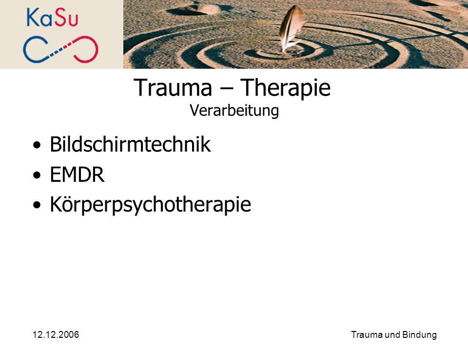 12.12.2006Trauma und Bindung Trauma – Therapie Verarbeitung Bildschirmtechnik EMDR Körperpsychotherapie