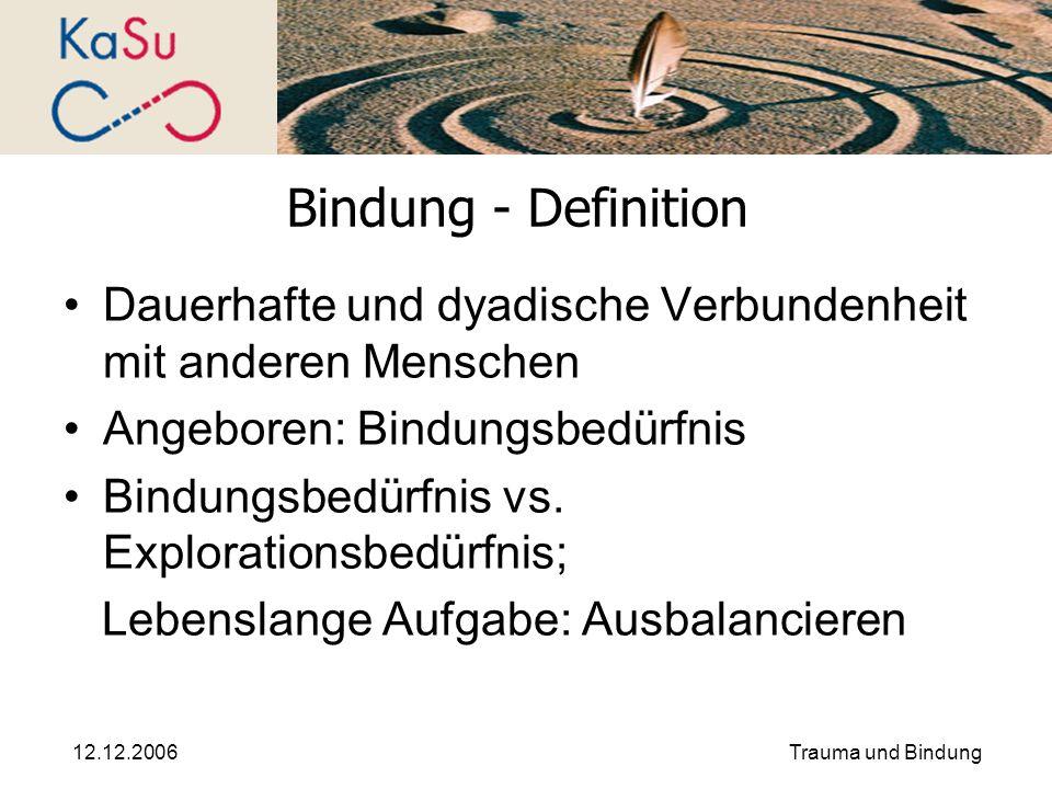 12.12.2006Trauma und Bindung Bindung - Definition Dauerhafte und dyadische Verbundenheit mit anderen Menschen Angeboren: Bindungsbedürfnis Bindungsbed