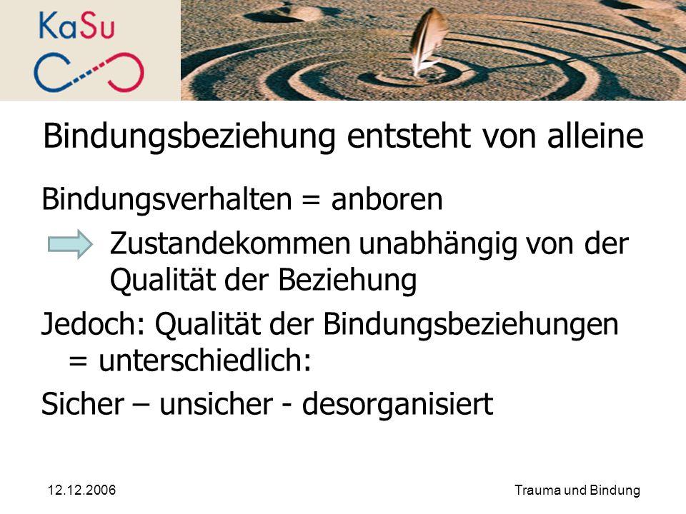 12.12.2006Trauma und Bindung Bindungsbeziehung entsteht von alleine Bindungsverhalten = anboren Zustandekommen unabhängig von der Qualität der Beziehu