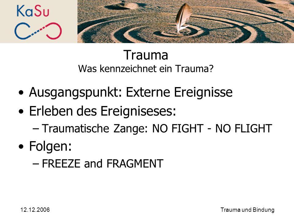 12.12.2006Trauma und Bindung Trauma Was kennzeichnet ein Trauma? Ausgangspunkt: Externe Ereignisse Erleben des Ereigniseses: –Traumatische Zange: NO F