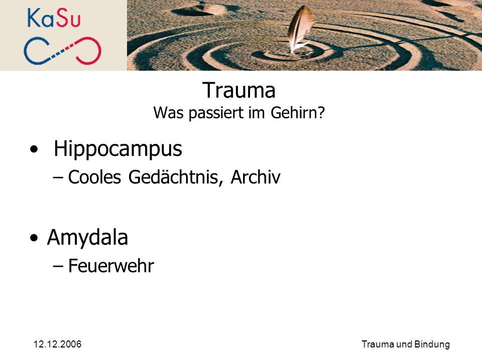 12.12.2006Trauma und Bindung Trauma Was passiert im Gehirn? Hippocampus –Cooles Gedächtnis, Archiv Amydala –Feuerwehr
