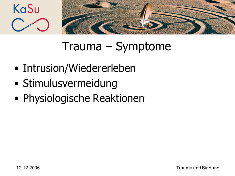 12.12.2006Trauma und Bindung Trauma – Symptome Intrusion/Wiedererleben Stimulusvermeidung Physiologische Reaktionen