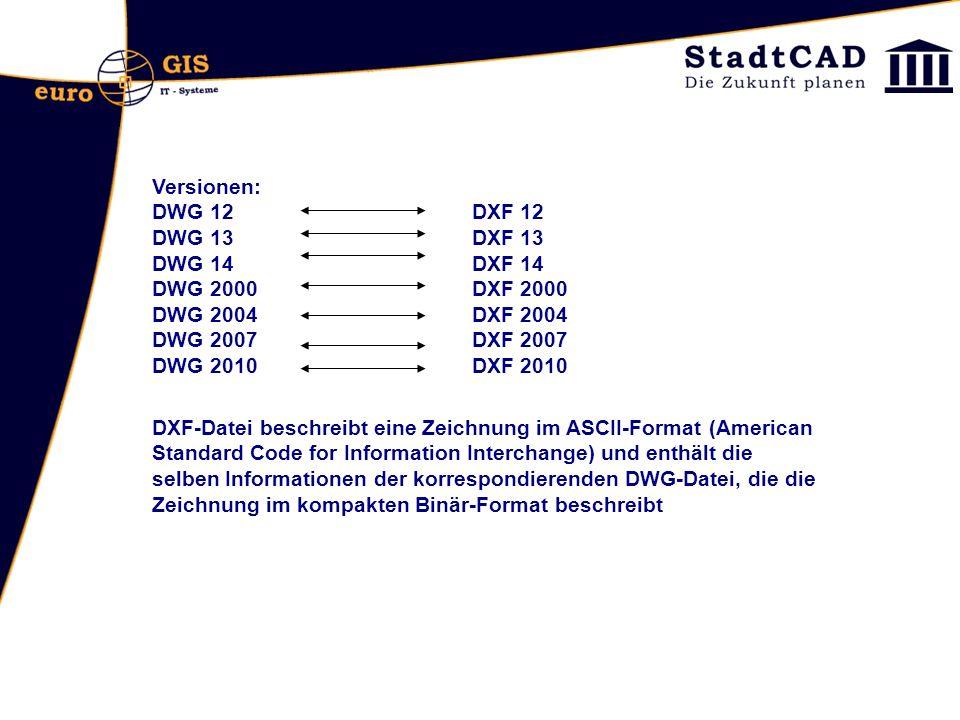 Versionen: DWG 12 DXF 12 DWG 13DXF 13 DWG 14DXF 14 DWG 2000DXF 2000 DWG 2004DXF 2004 DWG 2007DXF 2007 DWG 2010DXF 2010 DXF-Datei beschreibt eine Zeich