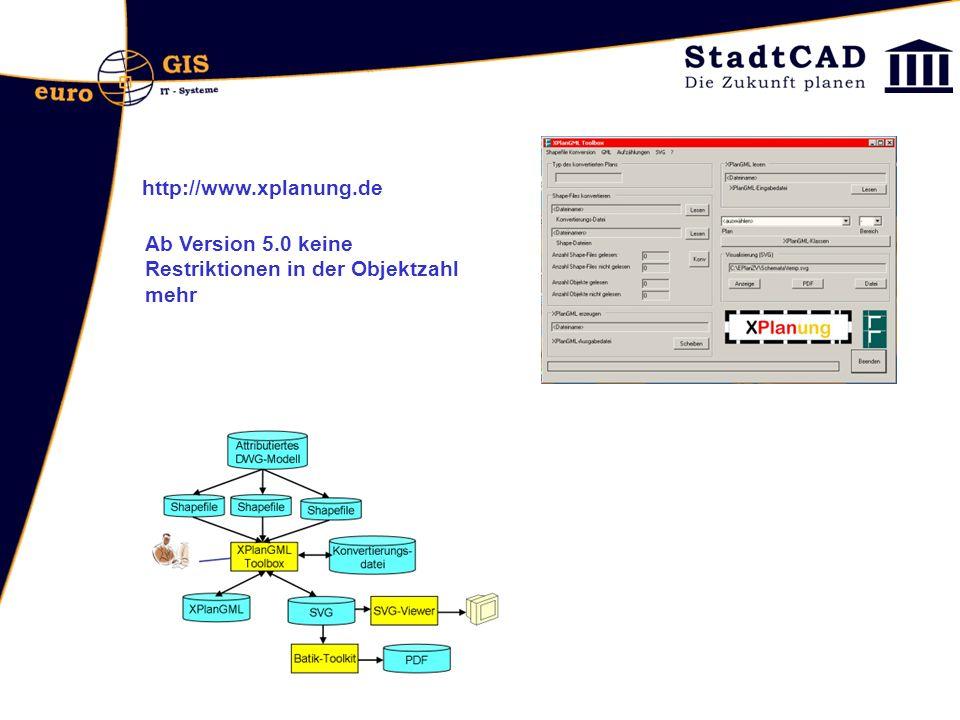 http://www.xplanung.de Ab Version 5.0 keine Restriktionen in der Objektzahl mehr