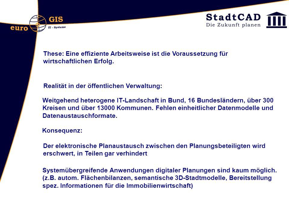 Gemeinsames Vorhaben von Bund, Ländern und Kommunen für den Aufbau einer länder- und ressortübergreifenden Geodateninfrastruktur Deutschland Seit 2004 wird im Projekt XPlanung die Spezifikation des Datenformats XPlanGML erarbeitet War von Januar 2006 - März 2007 ein Modellvorhaben der Geodateninfrastruktur Deutschland (GDI-DE), und bis Ende 2006 ein Media@Komm Transfer-Projekt Derzeit wird XPlanung von der E-Government Initiative Deutschland- Online unterstützt