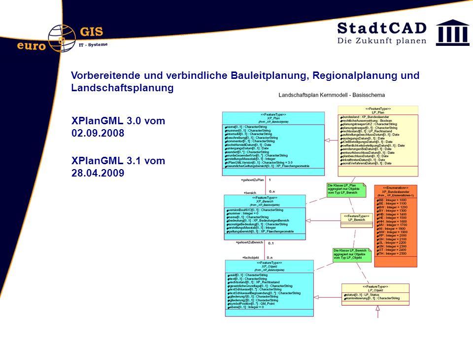 Vorbereitende und verbindliche Bauleitplanung, Regionalplanung und Landschaftsplanung XPlanGML 3.0 vom 02.09.2008 XPlanGML 3.1 vom 28.04.2009