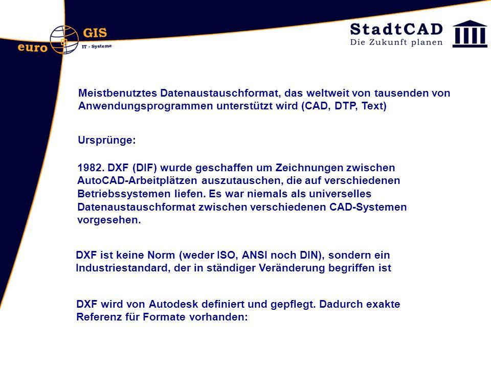 Versionen: DWG 12 DXF 12 DWG 13DXF 13 DWG 14DXF 14 DWG 2000DXF 2000 DWG 2004DXF 2004 DWG 2007DXF 2007 DWG 2010DXF 2010 DXF-Datei beschreibt eine Zeichnung im ASCII-Format (American Standard Code for Information Interchange) und enthält die selben Informationen der korrespondierenden DWG-Datei, die die Zeichnung im kompakten Binär-Format beschreibt