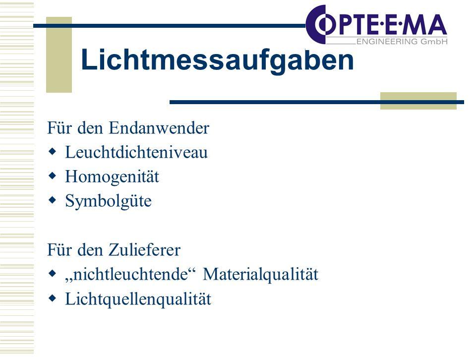 Lichtmessaufgaben Für den Endanwender Leuchtdichteniveau Homogenität Symbolgüte Für den Zulieferer nichtleuchtende Materialqualität Lichtquellenqualität