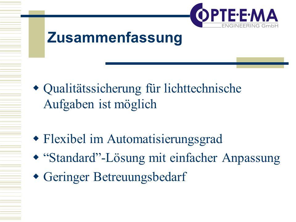 Zusammenfassung Qualitätssicherung für lichttechnische Aufgaben ist möglich Flexibel im Automatisierungsgrad Standard-Lösung mit einfacher Anpassung Geringer Betreuungsbedarf