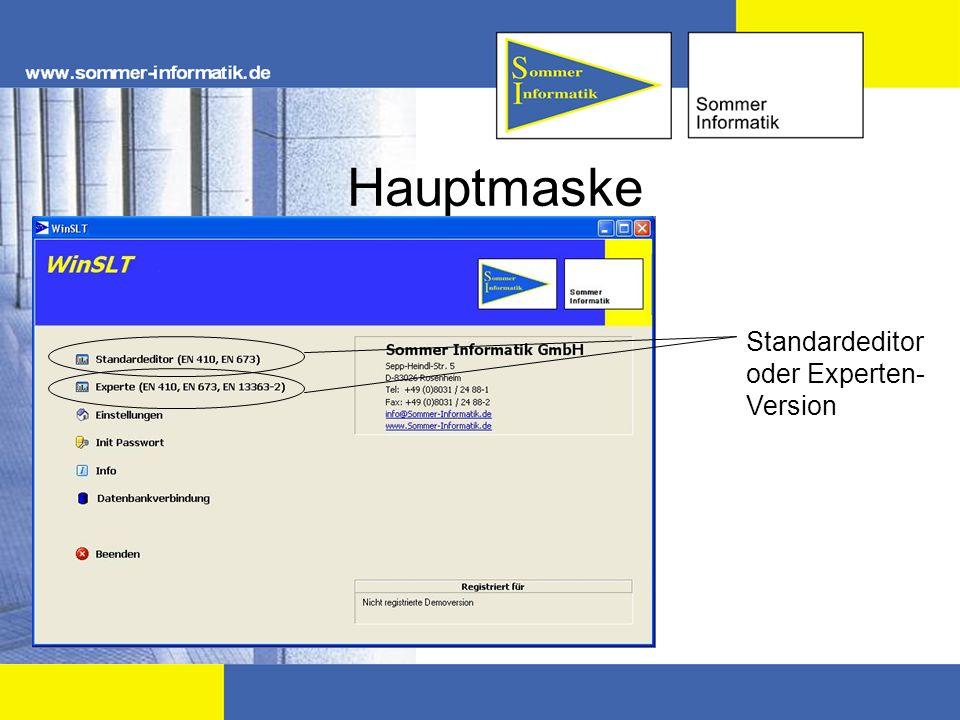 Standardeditor oder Experten- Version