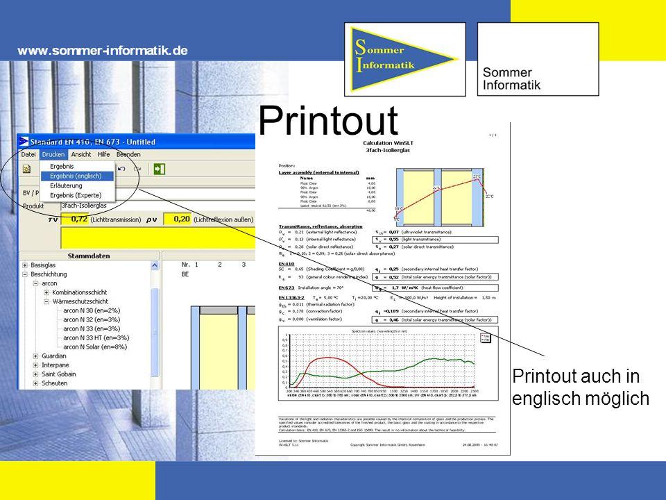 Printout auch in englisch möglich