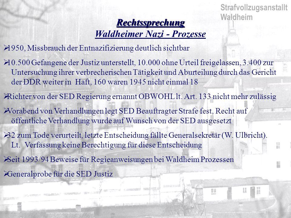 Rechtssprechung Waldheimer Nazi - Prozesse 1950, Missbrauch der Entnazifizierung deutlich sichtbar 10.500 Gefangene der Justiz unterstellt, 10.000 ohne Urteil freigelassen, 3.400 zur Untersuchung ihrer verbrecherischen Tätigkeit und Aburteilung durch das Gericht der DDR weiter in Haft, 160 waren 1945 nicht einmal 18 Richter von der SED Regierung ernannt OBWOHL lt.