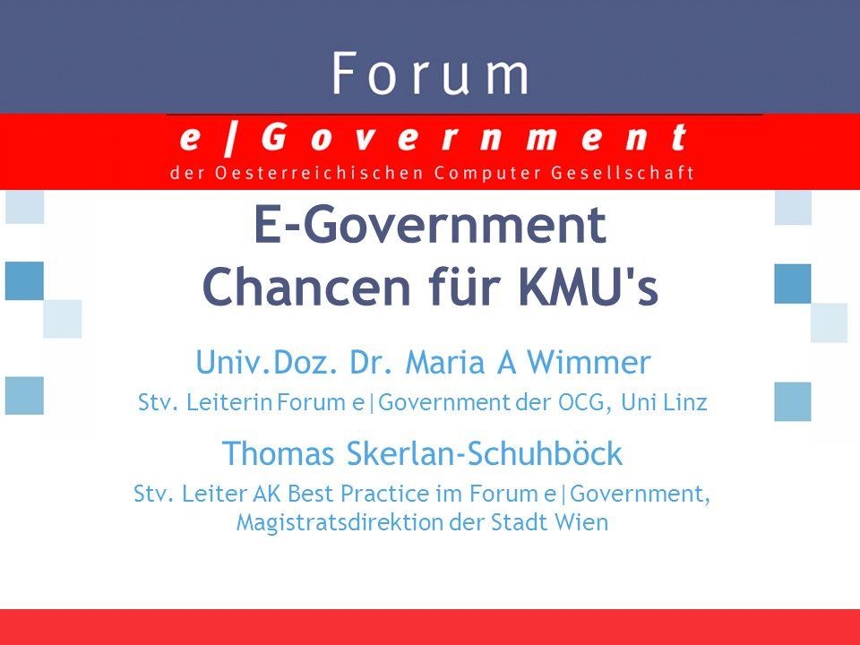 E-Government Chancen für KMU s Univ.Doz. Dr. Maria A Wimmer Stv.