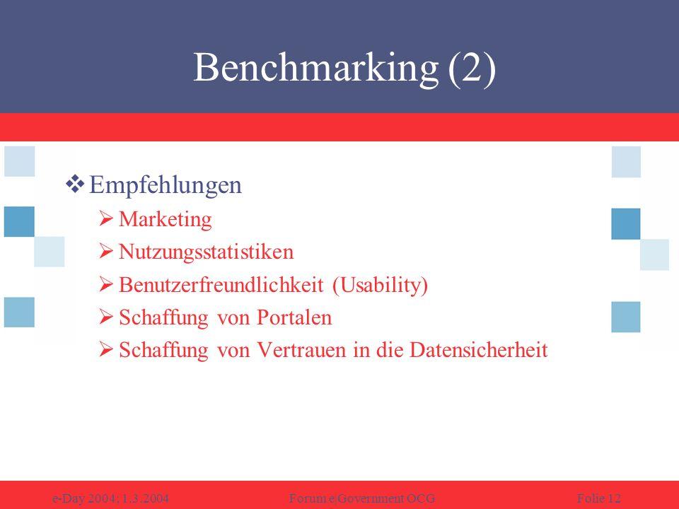 e-Day 2004; 1.3.2004Forum e|Government OCGFolie 12 Empfehlungen Marketing Nutzungsstatistiken Benutzerfreundlichkeit (Usability) Schaffung von Portalen Schaffung von Vertrauen in die Datensicherheit Benchmarking (2)