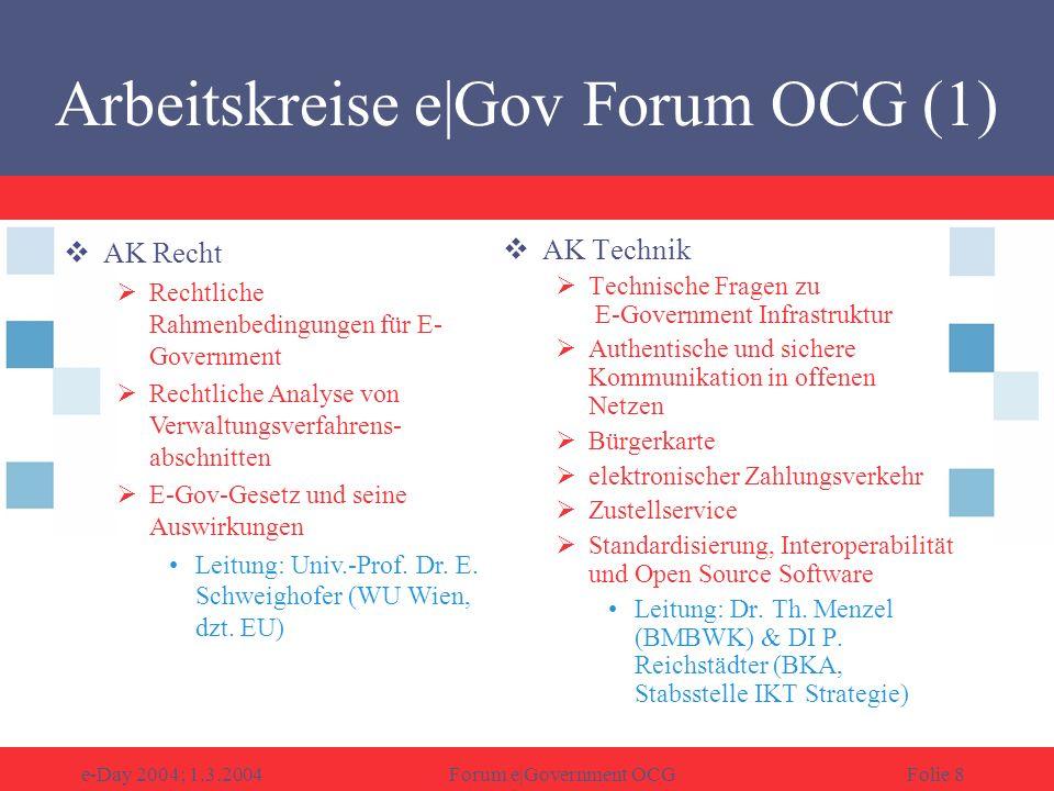 e-Day 2004; 1.3.2004Forum e|Government OCGFolie 9 AK Organisation Voraussetzungen für eine effiziente elektronische Umsetzung von öffentlichen Dienstleistungen Vorgehensmodelle, Einführungsstrategien, Prozessmodellierung, Wissensmanagement, Standardisierung, Portallösungen für Bürgerdienste Leitung: Univ.-Doz.