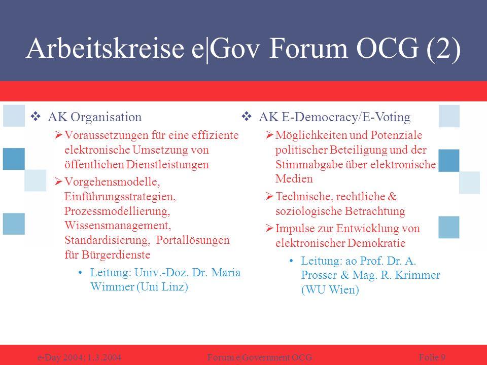 e-Day 2004; 1.3.2004Forum e|Government OCGFolie 10 AK Best Practice Auf nationaler und.
