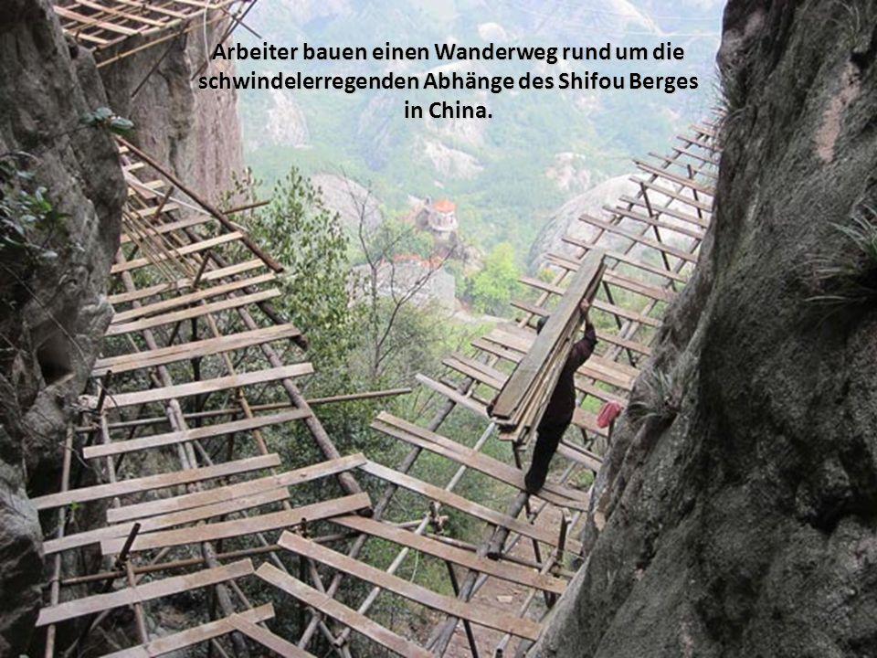 In tausenden Metern von schwindelerregenden Höhen des Shifou Berges, in der Provinz Hunan baut ein Team von Mitarbeitern einen Fußweg ohne besondere Sicherheitsvorkehrungen.