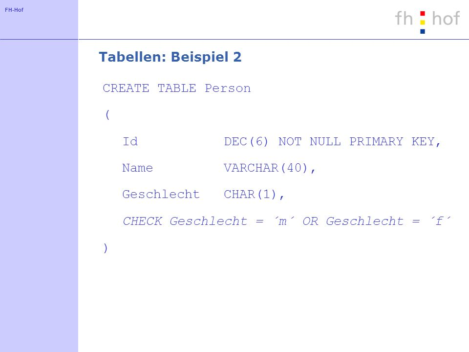 FH-Hof Tabellen: Beispiel 2 CREATE TABLE Person ( IdDEC(6) NOT NULL PRIMARY KEY, NameVARCHAR(40), GeschlechtCHAR(1), CHECK Geschlecht = ´m´ OR Geschlecht = ´f´ )