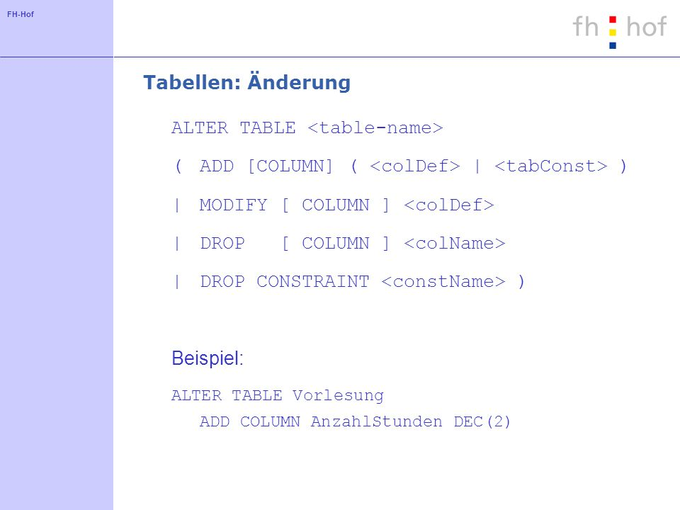 FH-Hof Tabellen: Änderung ALTER TABLE (ADD [COLUMN] ( | ) |MODIFY [ COLUMN ] |DROP [ COLUMN ] |DROP CONSTRAINT ) Beispiel: ALTER TABLE Vorlesung ADD COLUMN AnzahlStunden DEC(2)
