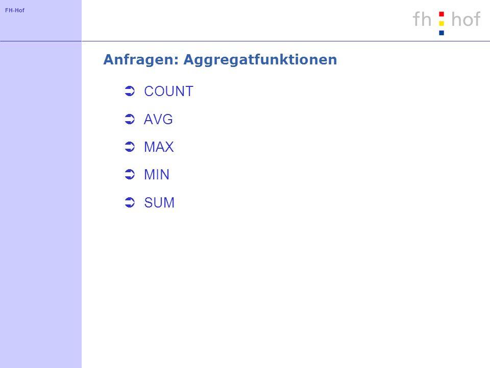 FH-Hof Anfragen: Aggregatfunktionen COUNT AVG MAX MIN SUM