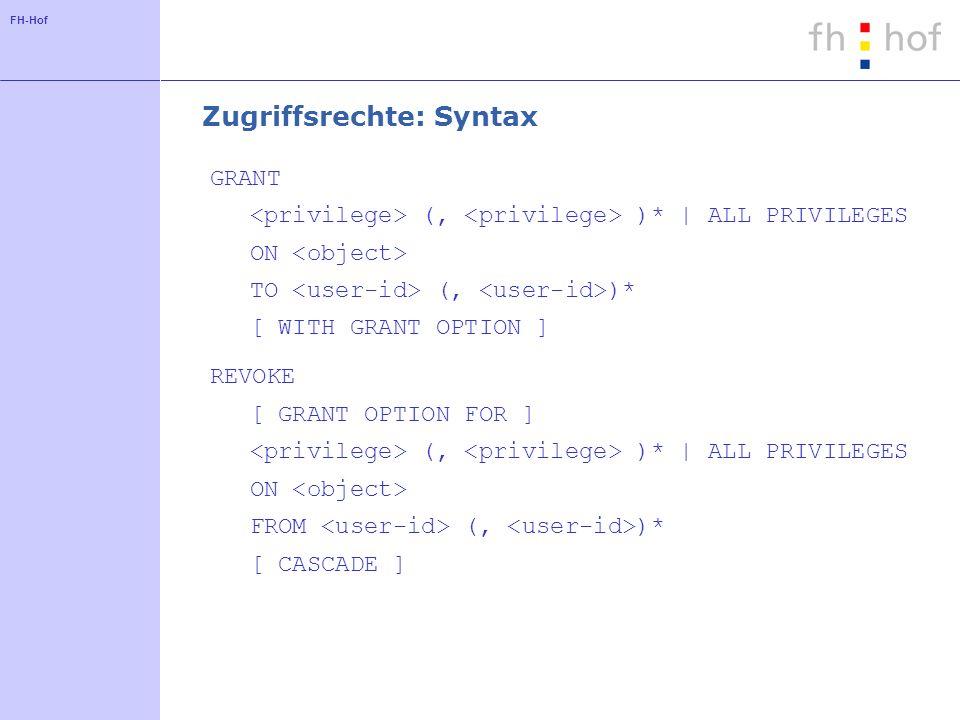 FH-Hof Zugriffsrechte: Objekte und Privilegien Objekte Tabellen Views weitere Objekte (z.B.