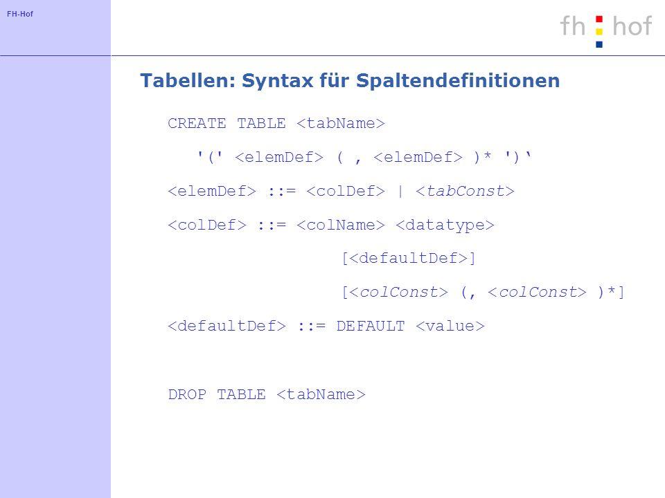 FH-Hof Tabellen: Datentypen CHAR(n), CHARACTER(n) CHARACTER VARYING(n), VARCHAR(n) INT, INTEGER, SMALLINT DEC(n,m), DECIMAL(n,m) (minimal n Ziffern) NUMERIC(n,m) (genau n Ziffern) FLOAT, REAL, DOUBLE PRECISION DATE
