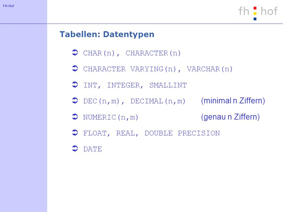 FH-Hof Tabellen: Datentypen CHAR(n), CHARACTER(n) CHARACTER VARYING(n), VARCHAR(n) INT, INTEGER, SMALLINT DEC(n,m), DECIMAL(n,m) (minimal n Ziffern) NUMERIC(n,m) (genau n Ziffern) FLOAT, REAL, DOUBLE PRECISION DATE
