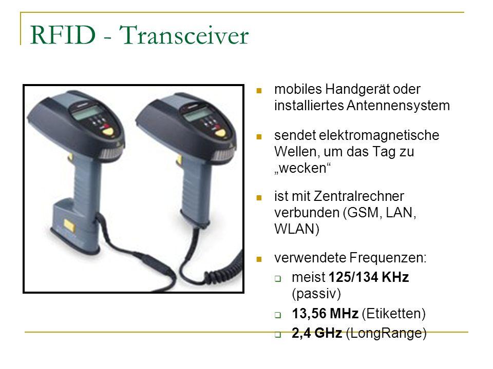 RFID - Transceiver mobiles Handgerät oder installiertes Antennensystem sendet elektromagnetische Wellen, um das Tag zu wecken ist mit Zentralrechner v