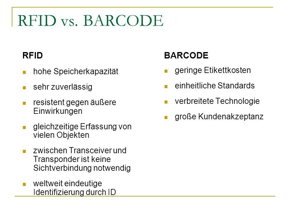 RFID vs. BARCODE RFID hohe Speicherkapazität sehr zuverlässig resistent gegen äußere Einwirkungen gleichzeitige Erfassung von vielen Objekten zwischen