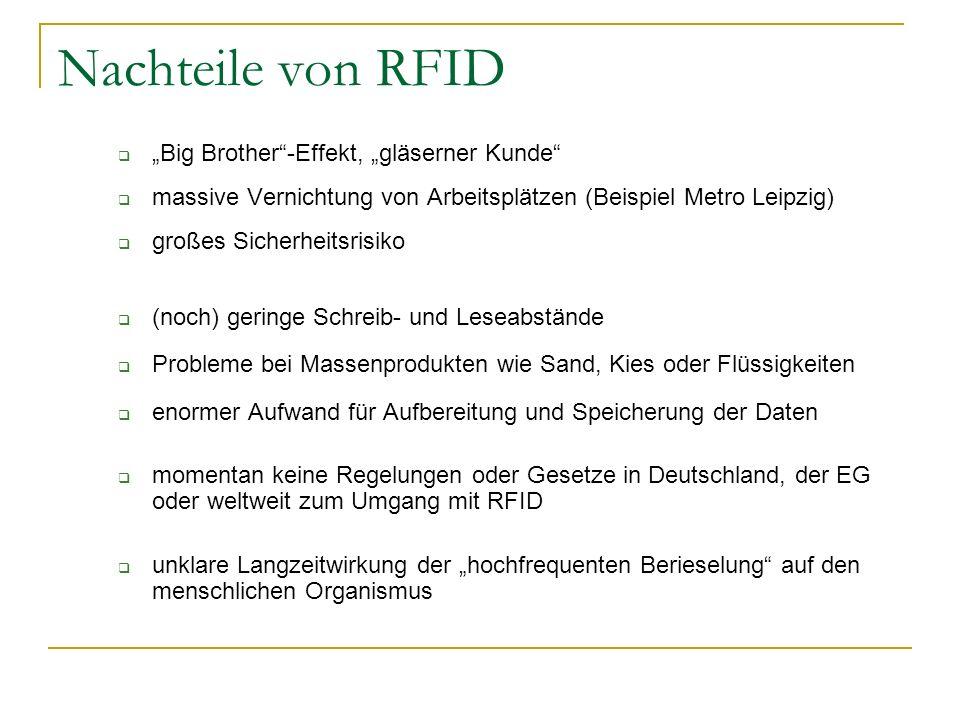Nachteile von RFID Big Brother-Effekt, gläserner Kunde massive Vernichtung von Arbeitsplätzen (Beispiel Metro Leipzig) großes Sicherheitsrisiko (noch)