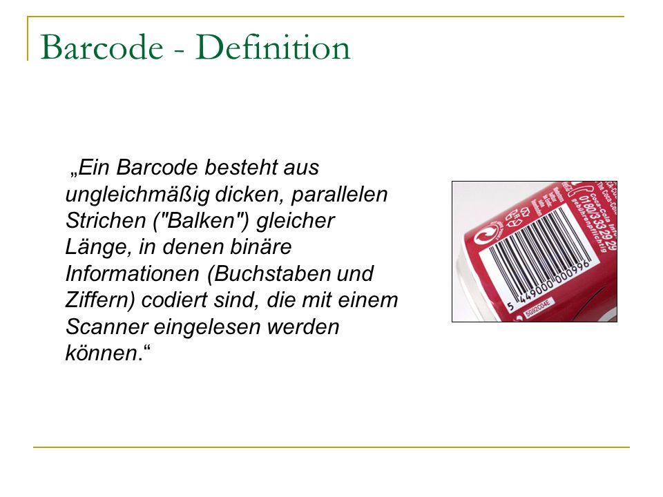 Ein Barcode besteht aus ungleichmäßig dicken, parallelen Strichen (