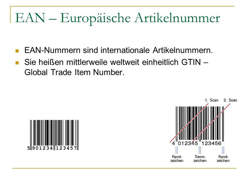 EAN – Europäische Artikelnummer EAN-Nummern sind internationale Artikelnummern. Sie heißen mittlerweile weltweit einheitlich GTIN – Global Trade Item