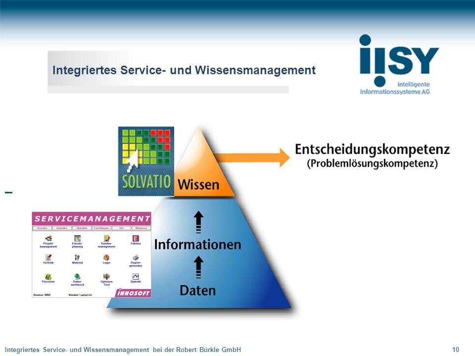 Integriertes Service- und Wissensmanagement bei der Robert Bürkle GmbH 10 Integriertes Service- und Wissensmanagement