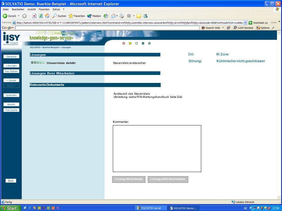 Integriertes Service- und Wissensmanagement bei der Robert Bürkle GmbH 23 Relevante Dokumente Ort: IR-Zone Störung: Kühlmischer nicht geschlossen Steu