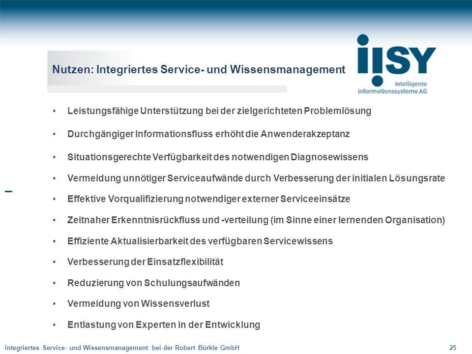 Integriertes Service- und Wissensmanagement bei der Robert Bürkle GmbH 25 Nutzen: Integriertes Service- und Wissensmanagement Leistungsfähige Unterstü