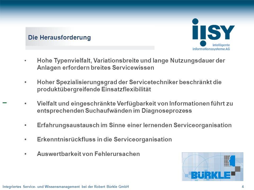 Integriertes Service- und Wissensmanagement bei der Robert Bürkle GmbH 15 Problemstellung Lösung Symptome Ursache Wissensbasierte Lösung nachvollziehbar begründbar gewichtet Integriertes Service- und Wissensmanagement
