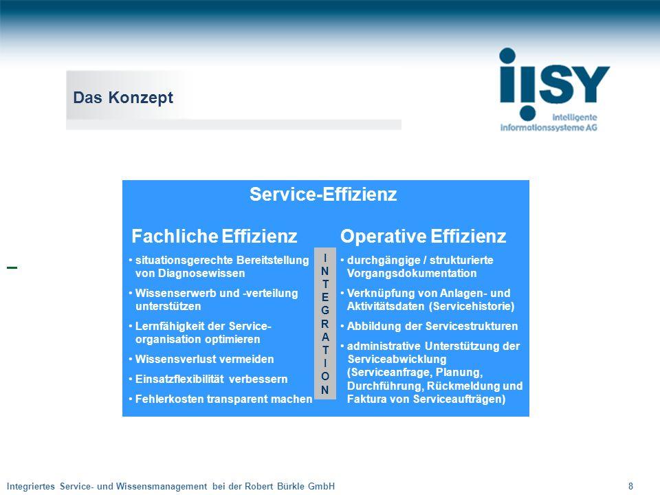 Integriertes Service- und Wissensmanagement bei der Robert Bürkle GmbH 8 Das Konzept Service-Effizienz Operative Effizienz durchgängige / strukturiert