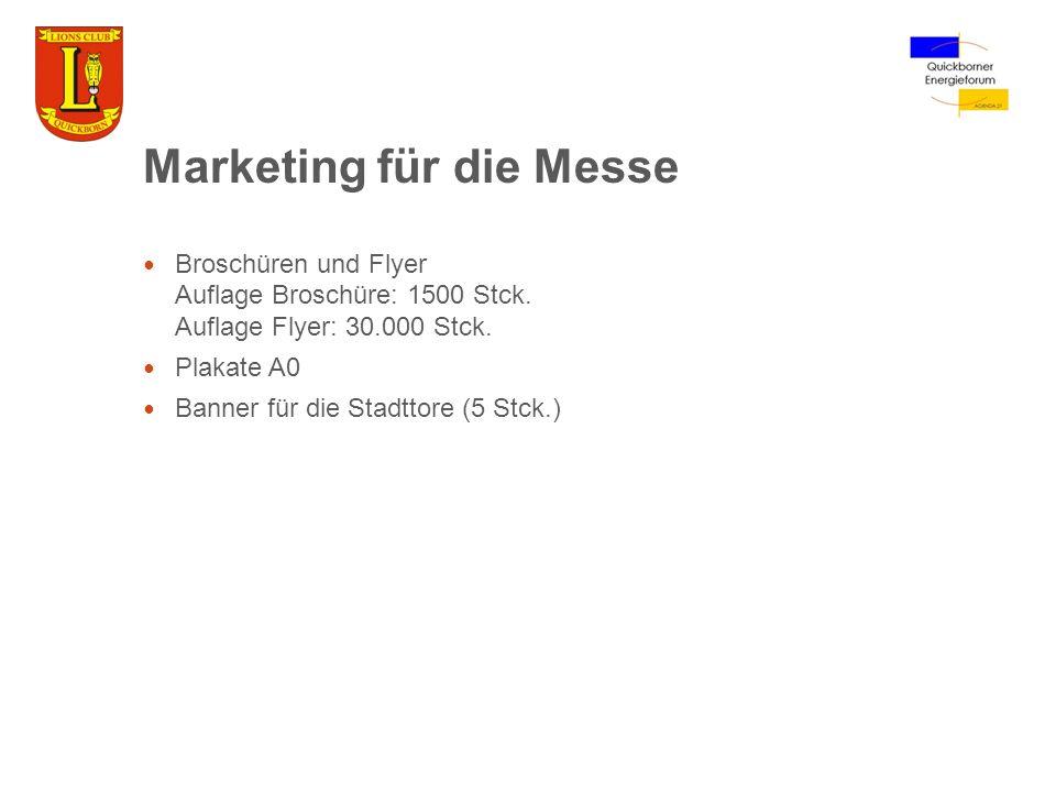 Marketing für die Messe Broschüren und Flyer Auflage Broschüre: 1500 Stck. Auflage Flyer: 30.000 Stck. Plakate A0 Banner für die Stadttore (5 Stck.)