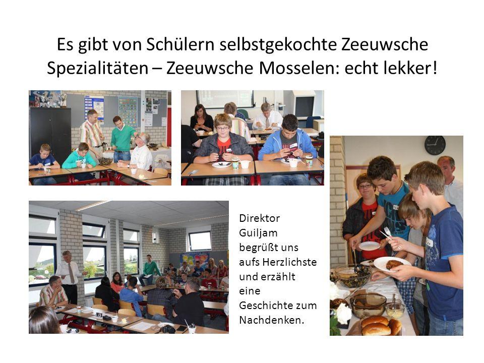 Es gibt von Schülern selbstgekochte Zeeuwsche Spezialitäten – Zeeuwsche Mosselen: echt lekker.