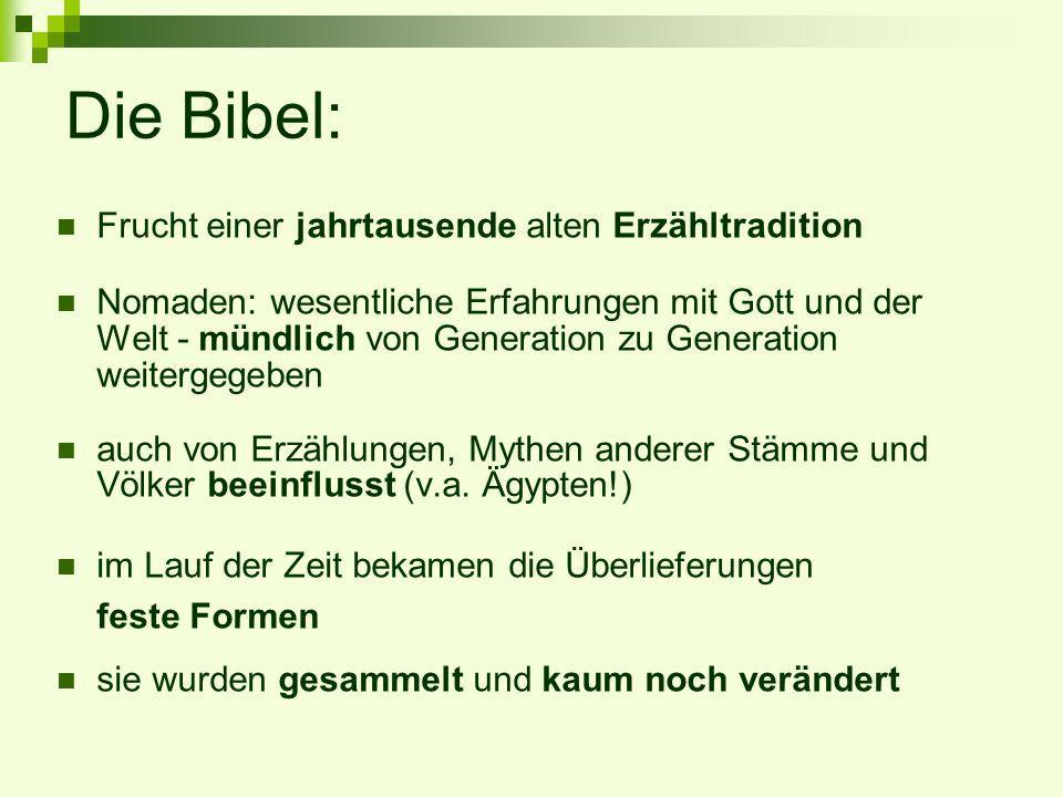 Die Bibel: Frucht einer jahrtausende alten Erzähltradition Nomaden: wesentliche Erfahrungen mit Gott und der Welt - mündlich von Generation zu Generat