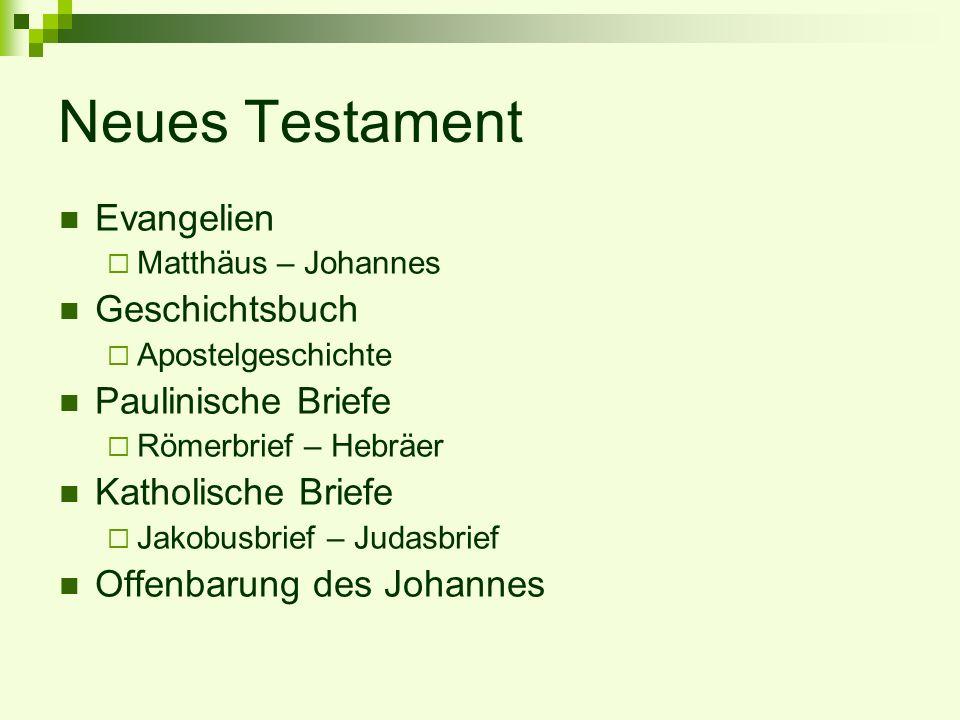 Neues Testament Evangelien Matthäus – Johannes Geschichtsbuch Apostelgeschichte Paulinische Briefe Römerbrief – Hebräer Katholische Briefe Jakobusbrie