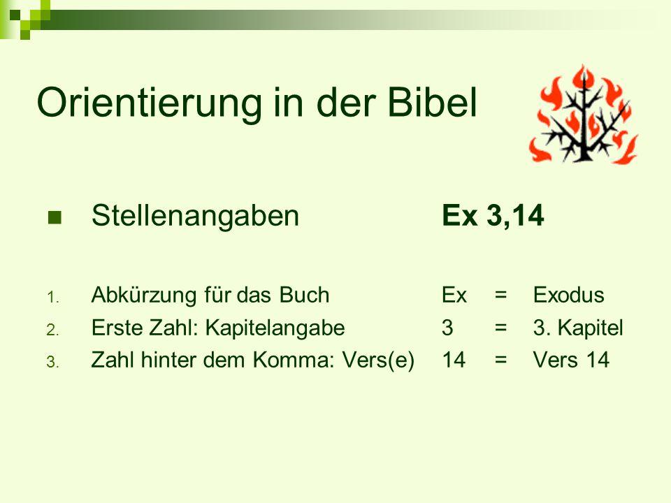 Orientierung in der Bibel StellenangabenEx 3,14 1. Abkürzung für das BuchEx= Exodus 2. Erste Zahl: Kapitelangabe3=3. Kapitel 3. Zahl hinter dem Komma: